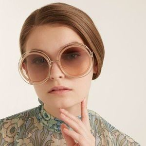 SALE Chloe Oversized Trimmed Nude Round Sunglasses